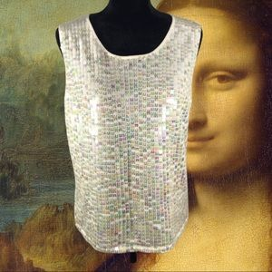 GEORGE Ivory Sequin Sleeveless Knit Top L